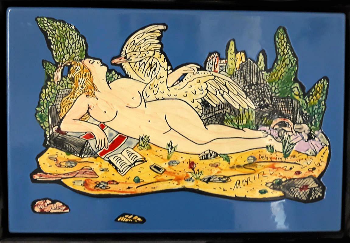 Moritz Götze, Denn im Mann ist ein Schwan, 2020, Emaillmalerei, 20 cm x 30 cm