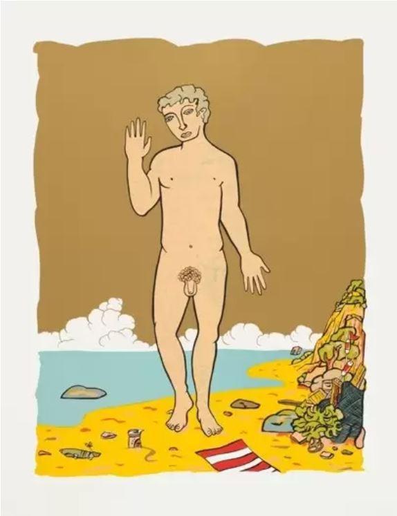 Moritz Götze,  Am Strand,  2014, Gold,  Vier Varbvarianten,  Serigrafie, 90 x 70 cm Auflage: 30
