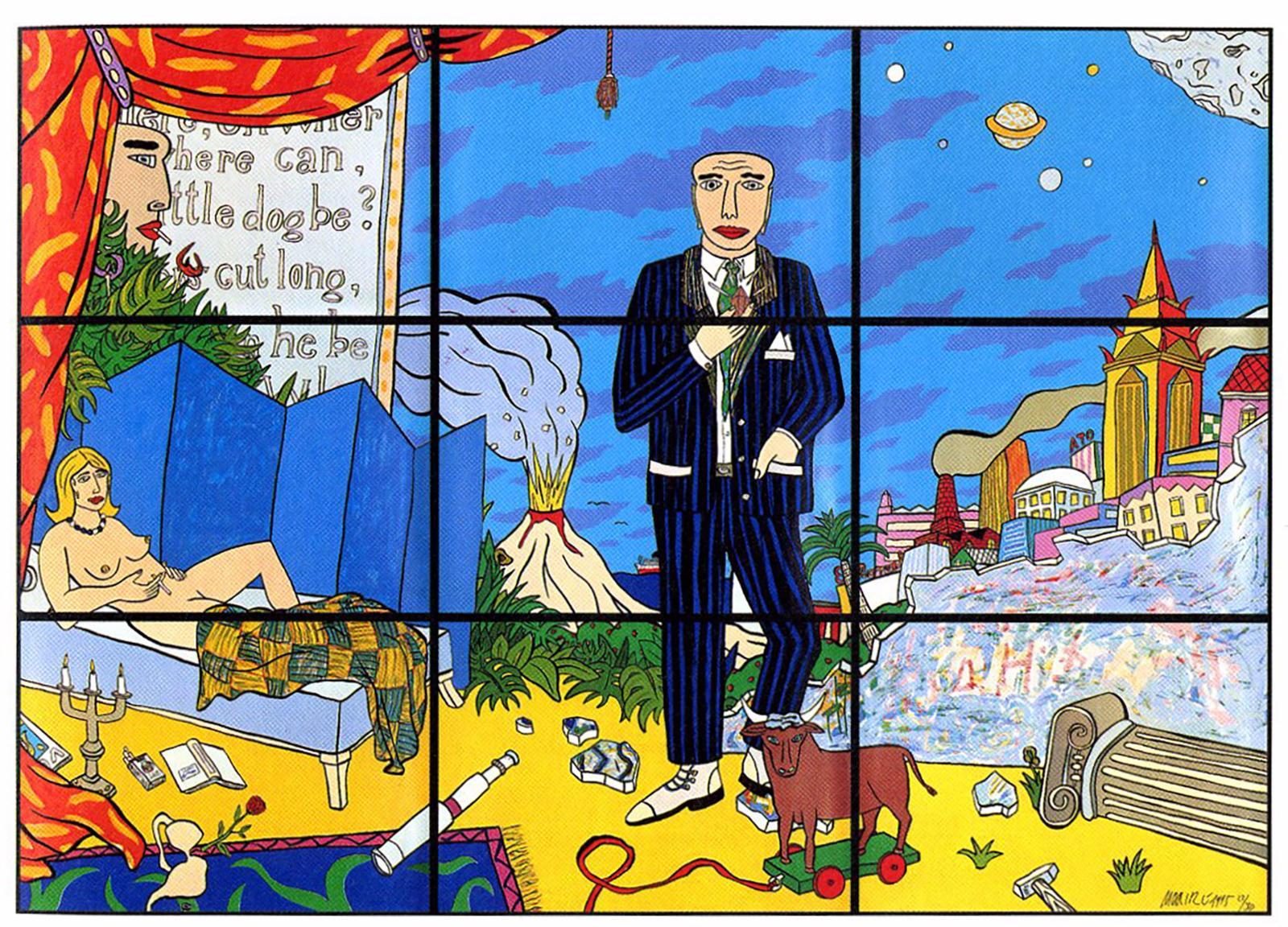 Moritz Götze,  Little Dog, 1995,  Farbgrafik 9-Teilig,  insgesamt 210 cm x 300 cm,  je 70 cm x 100 cm, gerahmt