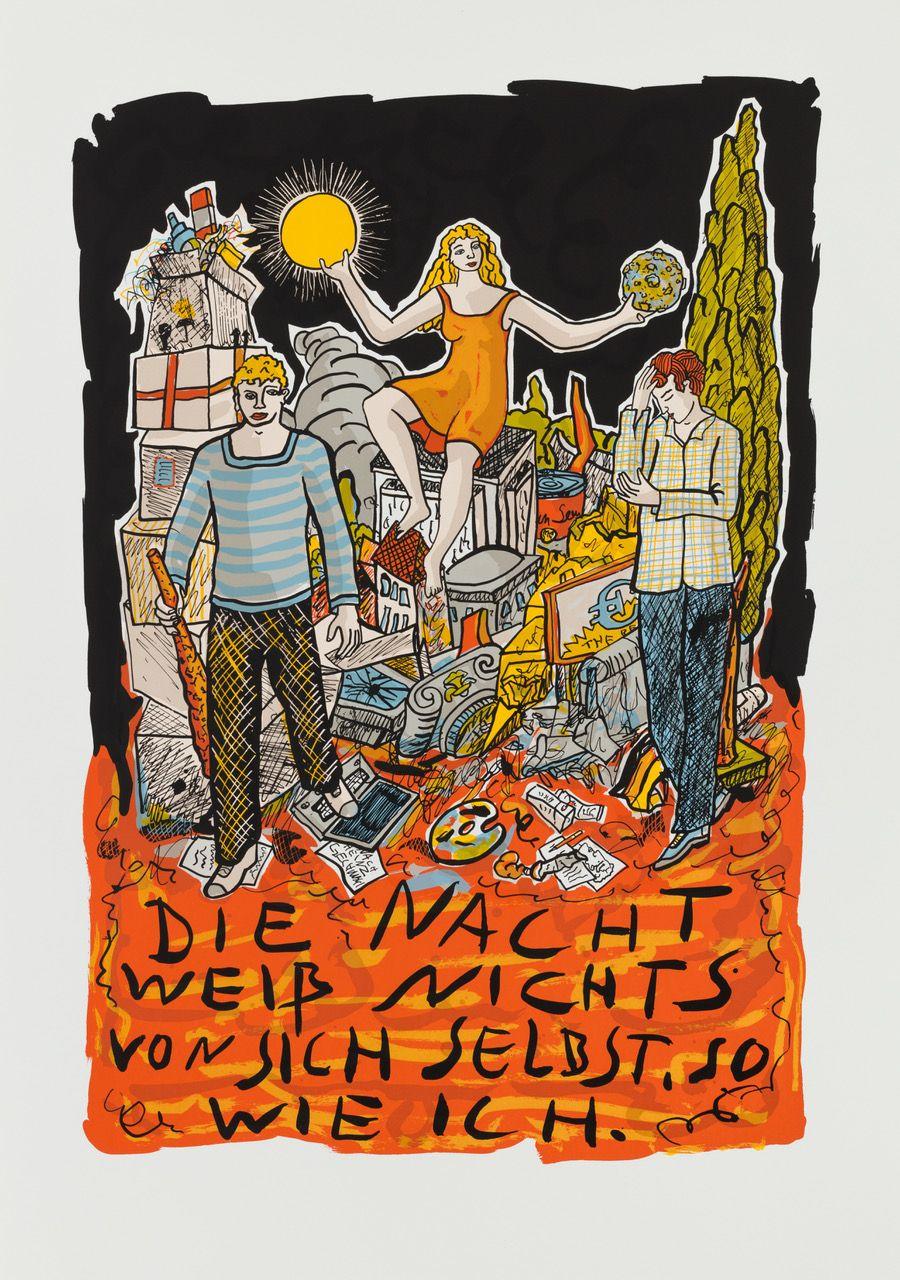 Moritz Götze, Die Nacht weiß nichts von sich selbst,  2019,  Serigrafie,  70 cm x 50 cm,  Auflage 50