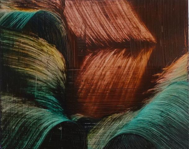Isa Dahl, borst, hugs and flowers, Öl auf Holz, 24 cm x 30 cm x 4 cm, SWG50