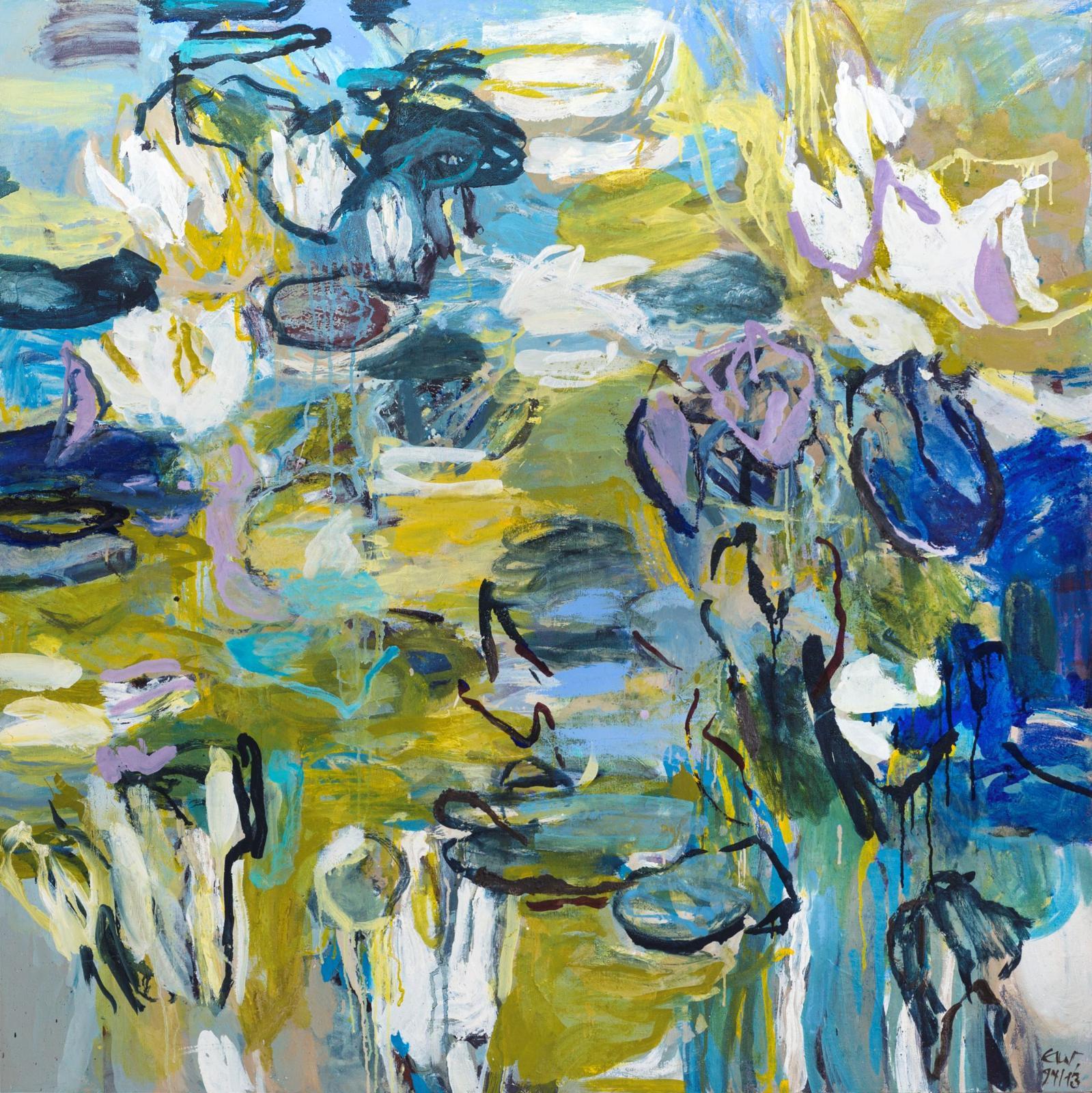 Elke Wree, Seerosenteich II, 2013, Öl auf Leinwand, 120 cm x 120 cm