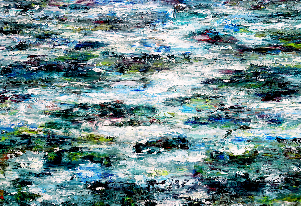 Rudi Weiss, Fluss, 15-2017, Öl auf Leinwand, 140 cm x 195 cm,  wer050ko