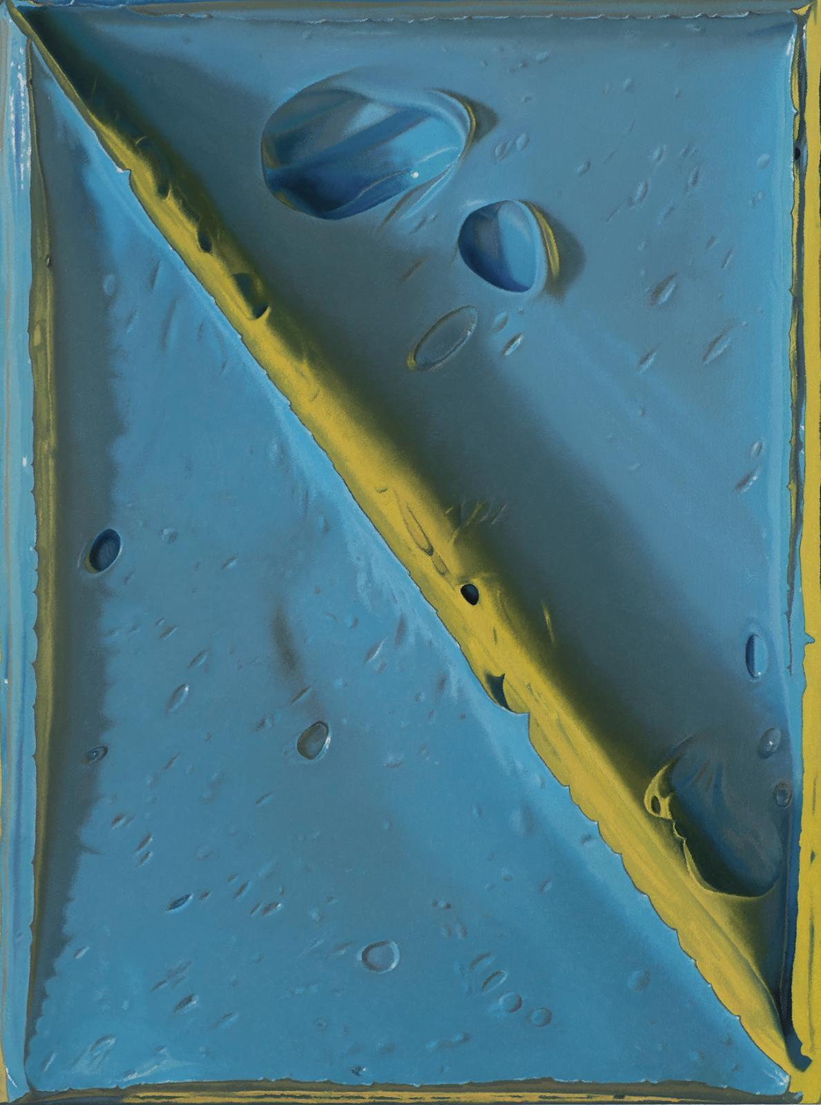 Felix Rehfeld, Ohne Titel, blau gelb vr, 2020, Öl auf Leinwand,64 x 48cm, ref005de